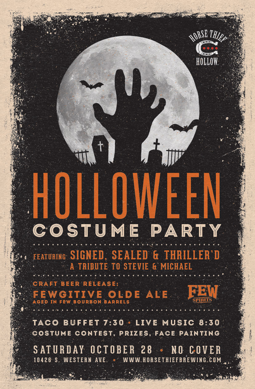 Poster for HTH Holloween Costume Party on Oct. 28, with a taco buffet at 7:30, live music at 8:30, face painting, and prizes for best costumes