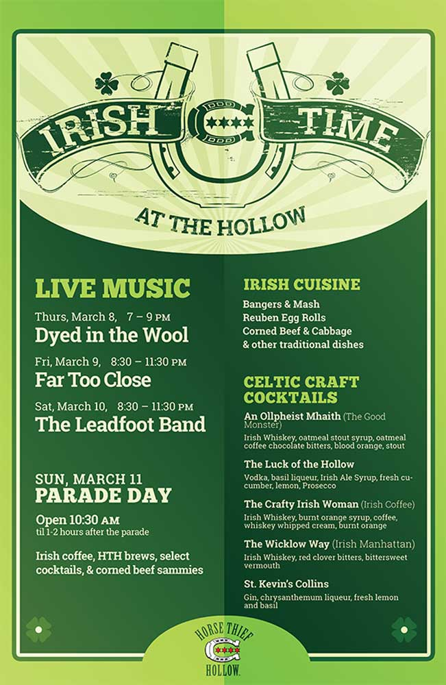 Irish Time at the Hollow poster lists the live music acts playing on March 8, 9, and 10 of 2018, plus Celtic Craft Cocktails and traditional Irish dishes