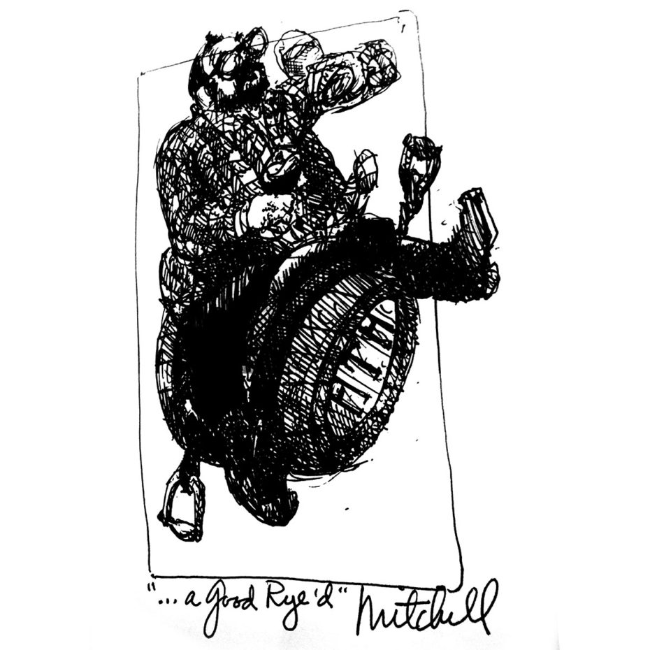 Ink drawing of David Williams riding a beer keg as if it were a horse