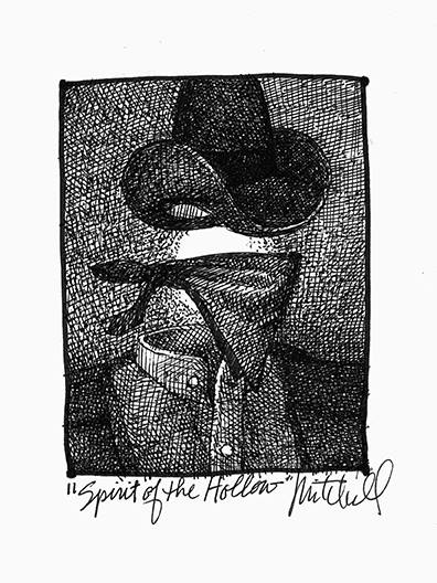 Ink drawing of a headless horse thief by Kurt Mitchell